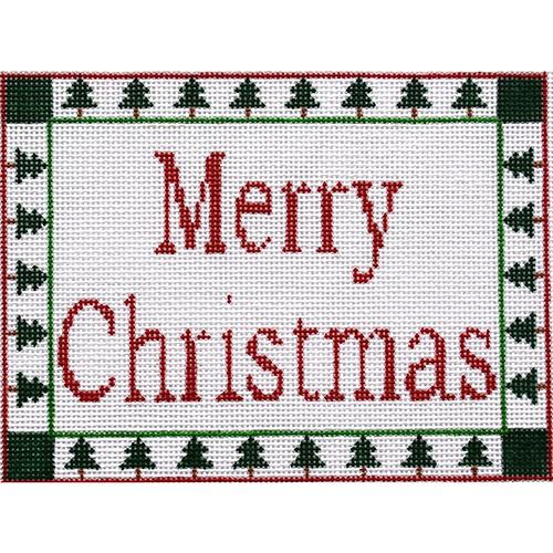 Merry Christmas Sign Painted Canvas CBK Needlepoint Collections