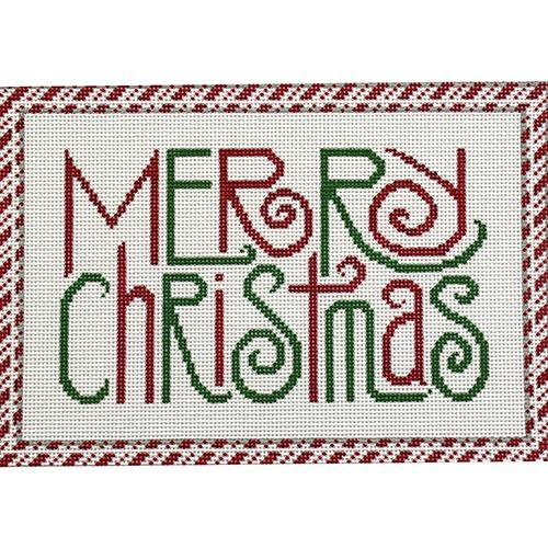 Merry Christmas with Candy Cane Border - Large Painted Canvas JP Needlepoint