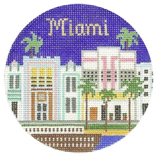 Miami Ornament Painted Canvas Silver Needle