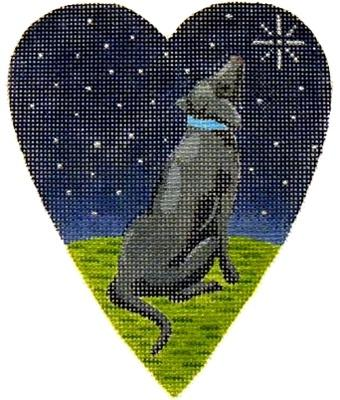 Midnight Black Labrador Heart Painted Canvas Kirk & Bradley