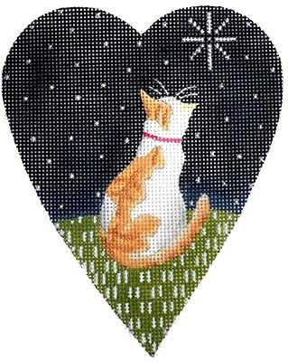 Midnight Cat Heart Painted Canvas Kirk & Bradley