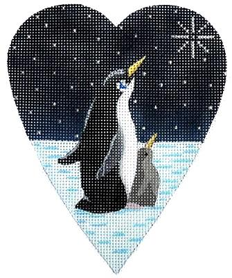 Midnight Penguin Heart Painted Canvas Kirk & Bradley