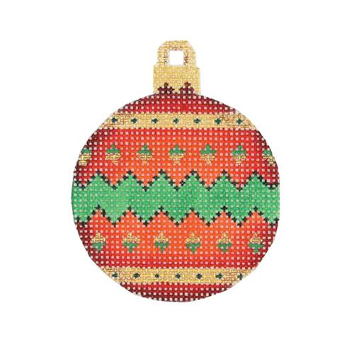 Mini Christmas Ball - Red, Green & Gold Pattern Painted Canvas Burnett & Bradley