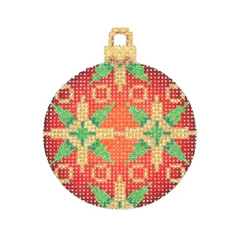 Mini Christmas Ball - Red, Green & Green Pattern Painted Canvas Burnett & Bradley