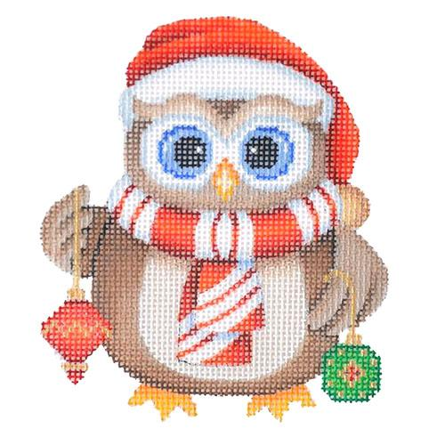 Mini Christmas Owl - Ornaments Painted Canvas Burnett & Bradley