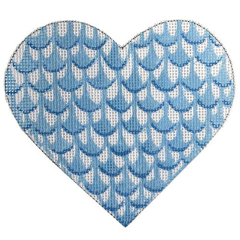 Mini Heart-Herend Inspired Blue Painted Canvas Kate Dickerson Needlepoint Collections