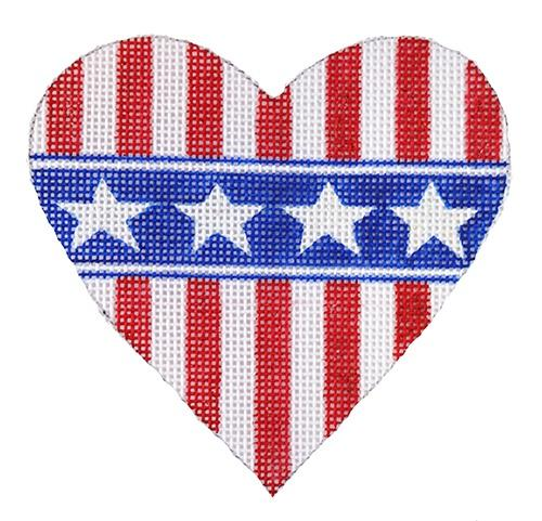 Mini Heart--Patriotic Red/White Stripes Painted Canvas Kate Dickerson Needlepoint Collections