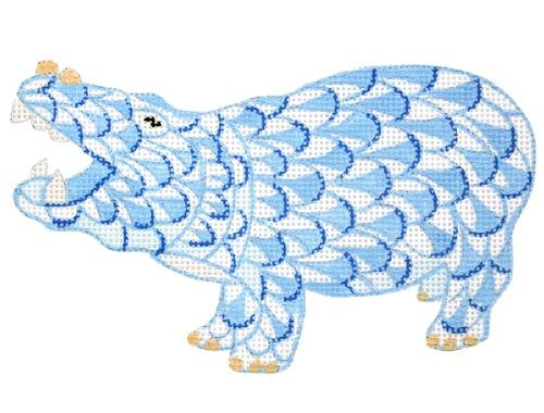 Mini Herend Style Hippo - Blue Painted Canvas Kate Dickerson Needlepoint Collections