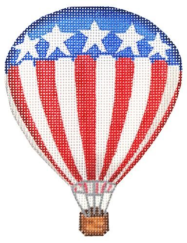Mini Patriotic Hot Air Balloon Painted Canvas Kate Dickerson Needlepoint Collections