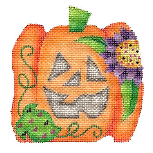 Mini Pumpkin - Purple Flower Painted Canvas Burnett & Bradley