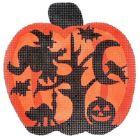 Mini Pumpkin Silhouette Painted Canvas Alexa Needlepoint Designs