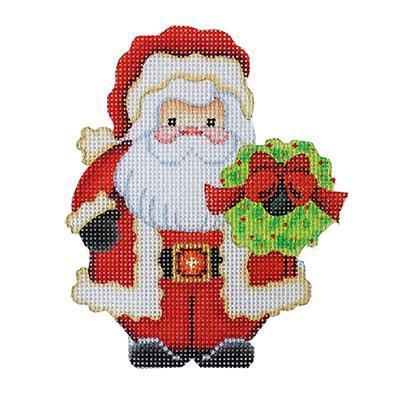 Mini Santa with Wreath Painted Canvas Burnett & Bradley
