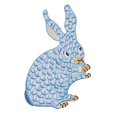 Mini Standing Herend Bunny - Blue Painted Canvas Kate Dickerson Needlepoint Collections