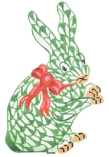 Mini Standing Herend Style Bunny with Red Bow - Green Painted Canvas Kate Dickerson Needlepoint Collections