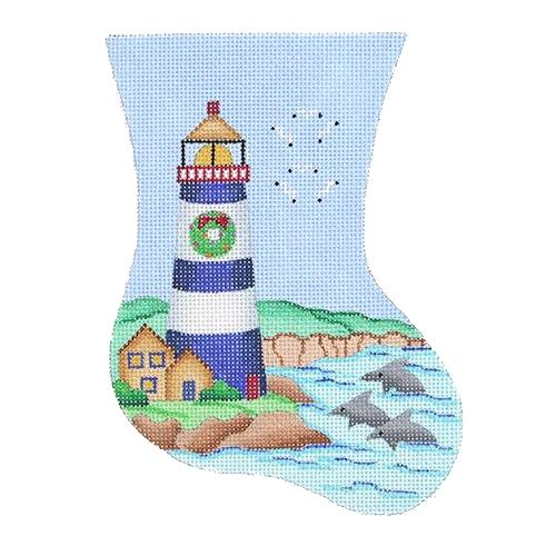 Mini Stocking - Blue & White Lighthouse Painted Canvas Burnett & Bradley