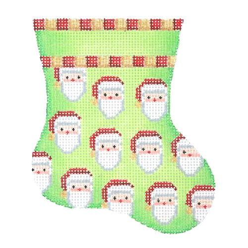 Mini Stocking - Green with Santa Faces Painted Canvas Burnett & Bradley