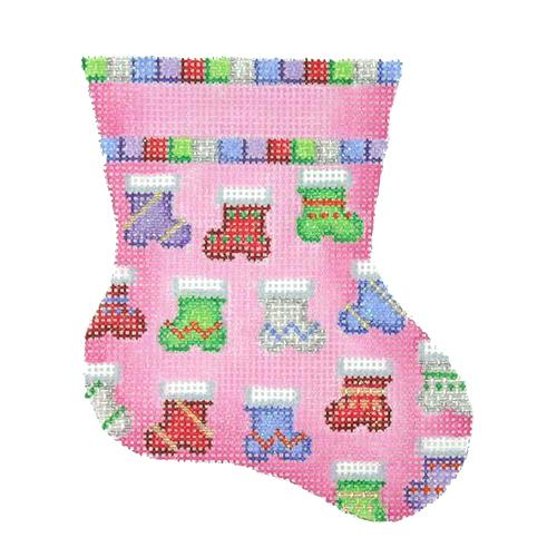 Mini Stocking - Pink with Socks Painted Canvas Burnett & Bradley