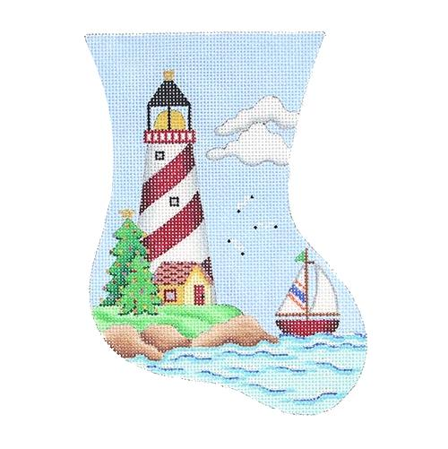 Mini Stocking - Red & White Lighthouse Painted Canvas Burnett & Bradley