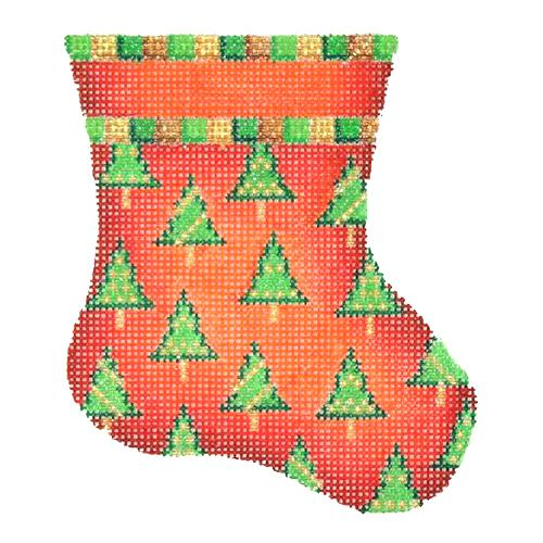 Mini Stocking - Red with Trees Painted Canvas Burnett & Bradley