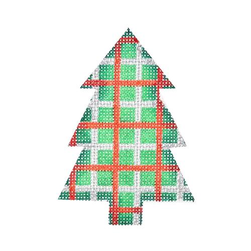 Mini Tree - Green, Red & Silver Plaid Painted Canvas Burnett & Bradley