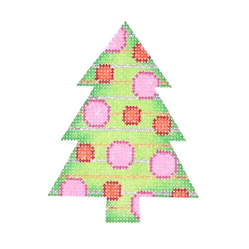 Mini Tree - Green with Pink & Red Dots Painted Canvas Burnett & Bradley