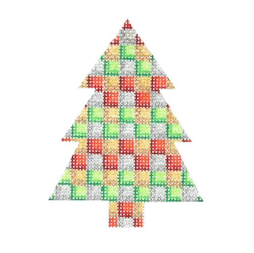 Mini Tree - Multicolor Checkered Pattern Painted Canvas Burnett & Bradley