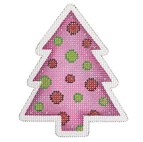 Mini Tree - Pink with Green & Red Dots Painted Canvas Burnett & Bradley
