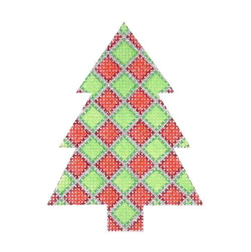 Mini Tree - Red & Green Diamond Pattern Painted Canvas Burnett & Bradley