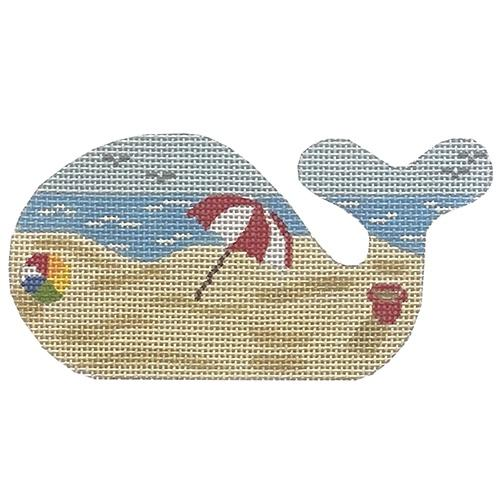 Mini Whale Beach Scene Painted Canvas Kate Dickerson Needlepoint Collections