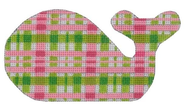 Mini Whale Pink Green Plaid Painted Canvas Kate Dickerson Needlepoint Collections