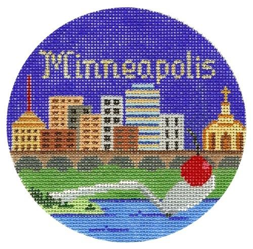 Minneapolis Ornament Painted Canvas Silver Needle