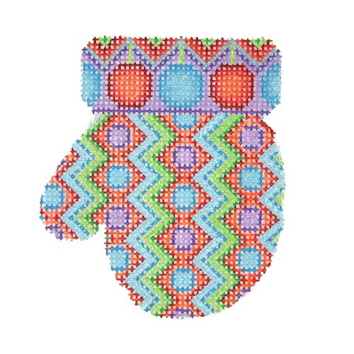 Mitten - Circles & Zigzag Pattern (L) Painted Canvas Burnett & Bradley