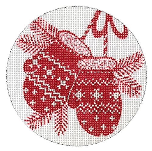 Mitten Red Ornament Painted Canvas Love You More