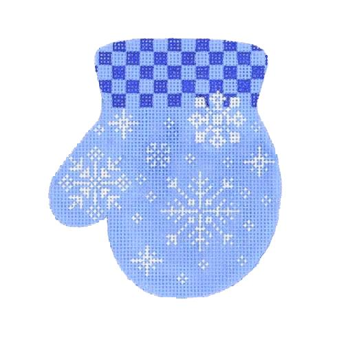 Mitten - Snowflake / Blue Checked Cuff (L) Painted Canvas Burnett & Bradley