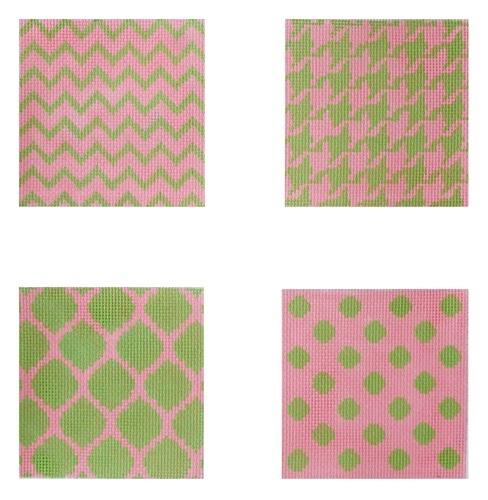 Mixed Geometric Coasters Painted Canvas Kate Dickerson Needlepoint Collections