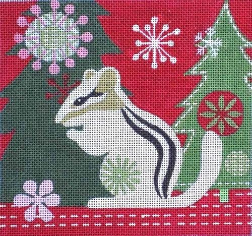 Mod Holiday Chipmunk Painted Canvas Maggie Co.