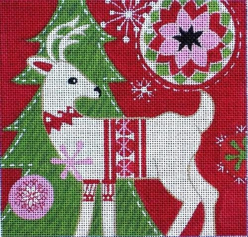 Mod Holiday Deer Painted Canvas Maggie Co.