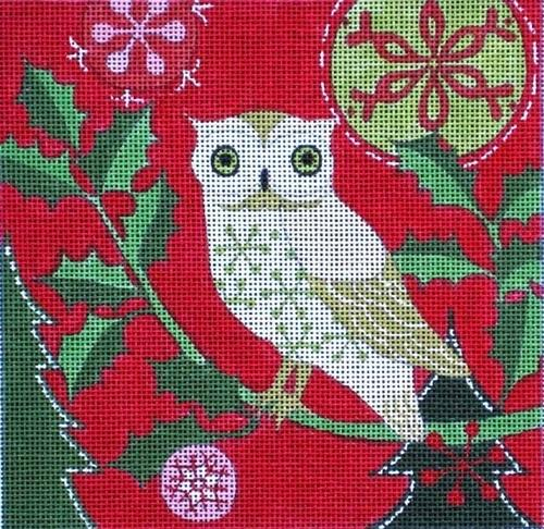 Mod Holiday Owl Painted Canvas Maggie Co.