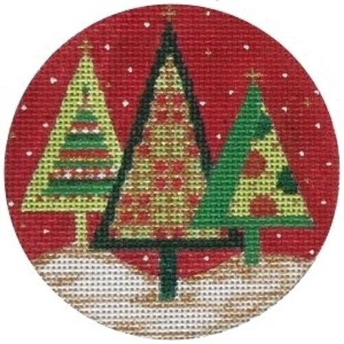 Modern Trees Ornament Painted Canvas Alice Peterson