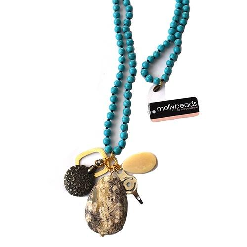 MollyBeads Necklace - Turquoise & Tan Accessories MollyBeads