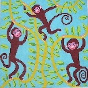Monkey Amigos Painted Canvas Birds of a Feather