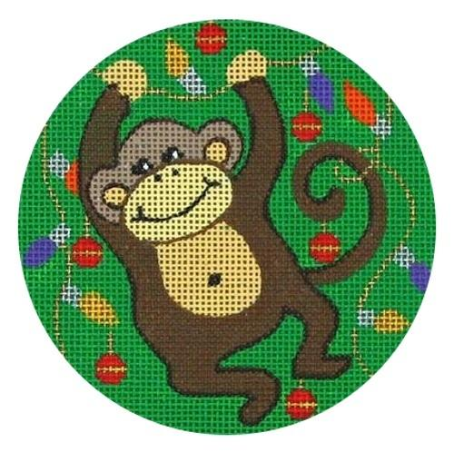 Monkey with Lights Painted Canvas Vallerie Needlepoint Gallery