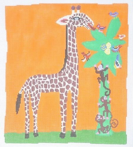 Monkeys and Giraffes Painted Canvas Birds of a Feather