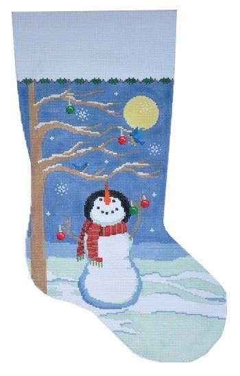 Moonlight Snowman Stocking Painted Canvas Susan Roberts Needlepoint Designs Inc.