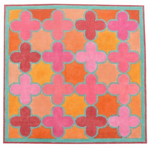 Moroccan Tiles - Pink, Orange, Turquoise Quatrefoils Painted Canvas Kate Dickerson Needlepoint Collections