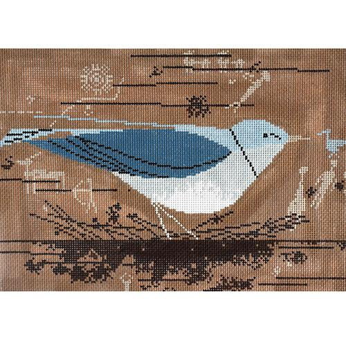 Mountain Blue Bird Painted Canvas Charley Harper
