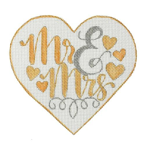Mr. & Mrs. Heart - Silver/Gold Painted Canvas A Poore Girl Paints