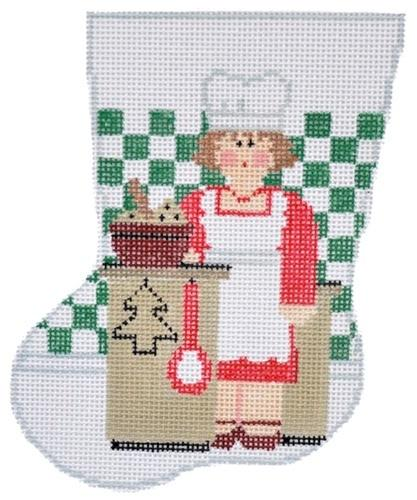 Mrs. Claus Chef Mini-Sock Painted Canvas Kathy Schenkel Designs