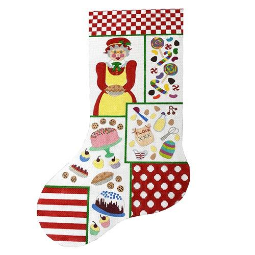 Mrs. Claus Collage Stocking Painted Canvas The Meredith Collection