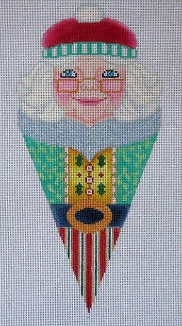 Mrs. Santa Cone Painted Canvas Brenda Stofft Designs